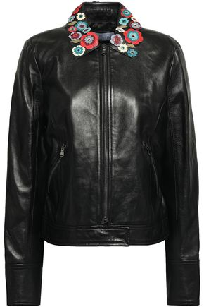 REDValentino Floral-appliquéd leather jacket