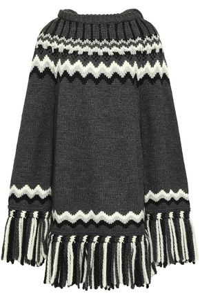 REDValentino Fringed intarsia-knit hooded poncho