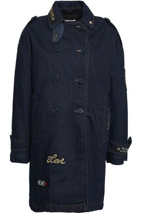 REDValentino Embellished double-breasted denim trench coat