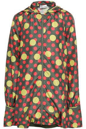 REDValentino Polka-dot shell hooded raincoat
