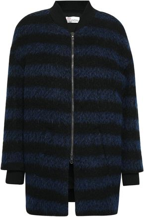 REDValentino Striped knitted coat