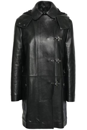 REDValentino Leather hooded coat