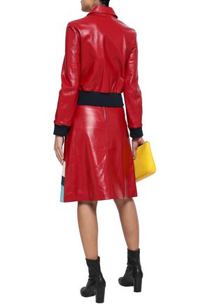 REDValentino Color-block leather bomber jacket