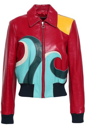 REDValentino Color-block leather bomber jacket