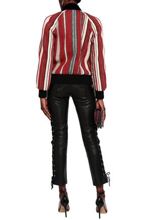 SAINT LAURENT Striped wool and cotton-blend bomber jacket