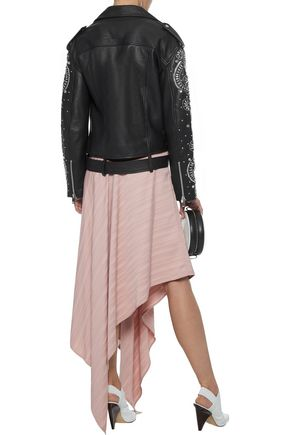 W118 by WALTER BAKER Chi crystal-embellished leather biker jacket