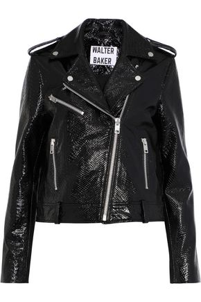 W118 by WALTER BAKER James snake-effect patent-leather biker jacket