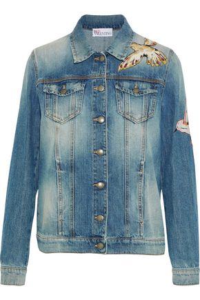 REDValentino Appliquéd distressed denim jacket