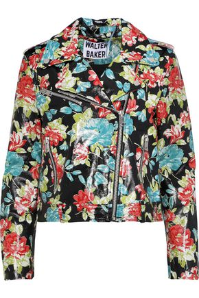 W118 by WALTER BAKER Lisa floral-print glossed-leather biker jacket