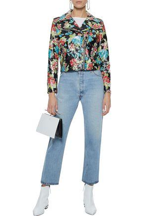 W118 by WALTER BAKER Lisa floral-print glossed-leather biker jacket