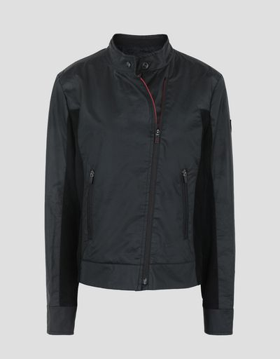 Scuderia Ferrari Online Store - Women's biker jacket in coated cotton - Biker Jackets