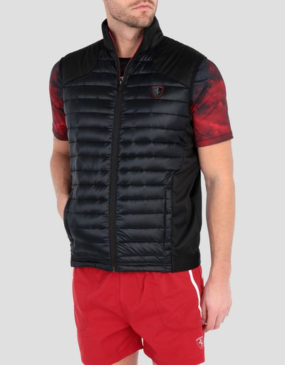 Men's softshell vest with real down
