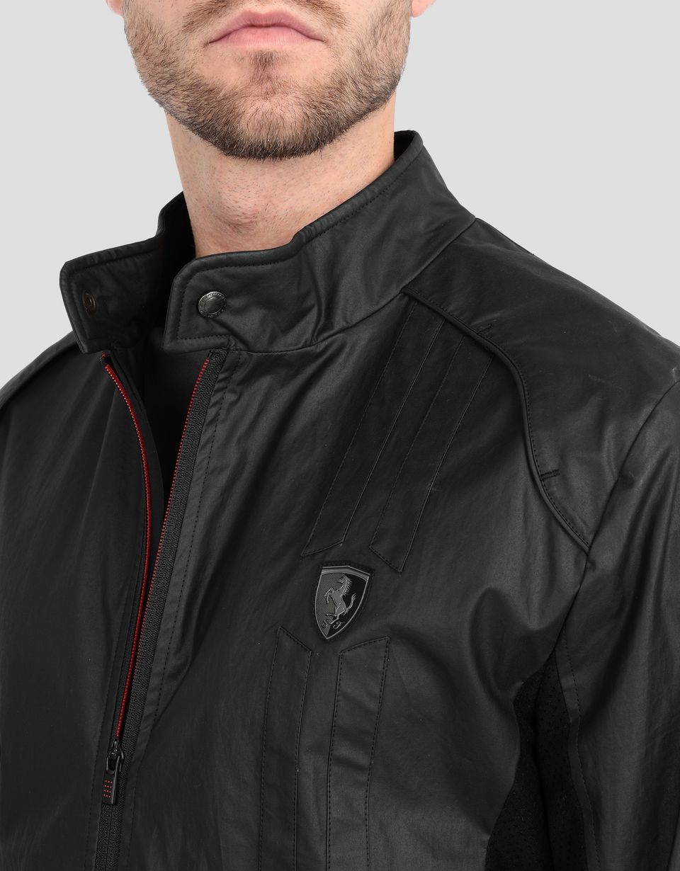 Scuderia Ferrari Online Store - Men's biker jacket with perforated side panels - Biker