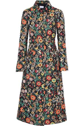 REDValentino Belted floral-jacquard coat