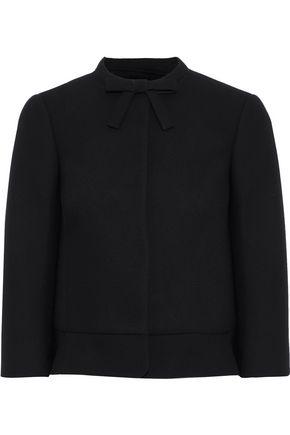 REDValentino Bow-embellished ruffle-trimmed crepe jacket