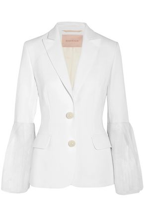 ROKSANDA Alden chiffon-trimmed silk-blend cady blazer