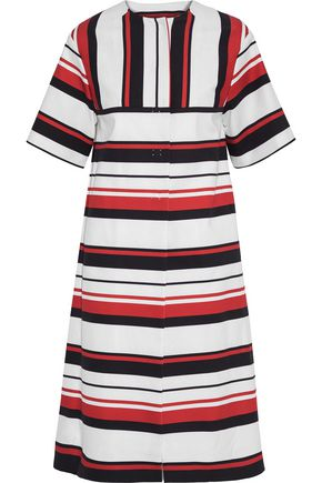 DOLCE & GABBANA Striped cotton-blend gabardine coat