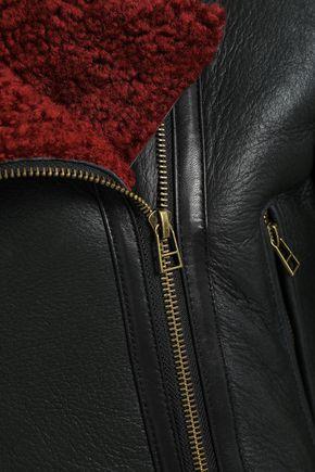 MUUBAA Shearling-trimmed leather biker jacket