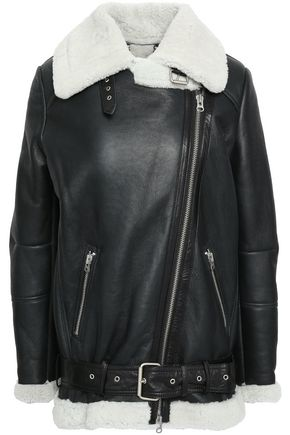 MUUBAA Shearling-trimmed leather biker jacket