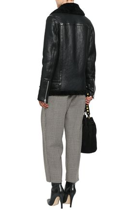 MUUBAA Shearling-trimmed textured-leather jacket