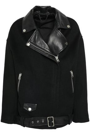 MUUBAA Leather-paneled felt biker jacket