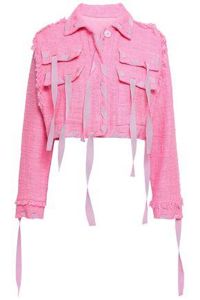 MSGM Cropped cotton-blend tweed jacket