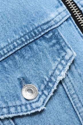 MSGM Zip-detailed distressed denim jacket