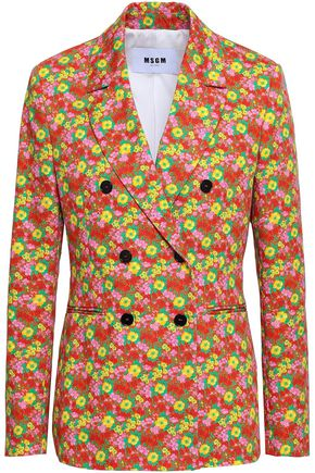 MSGM Double-breasted floral-print cotton-twill blazer