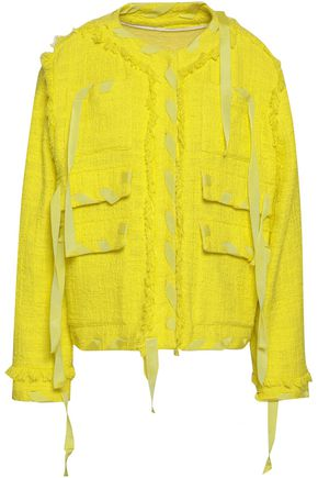 MSGM Frayed grosgrain-trimmed cotton-blend tweed jacket