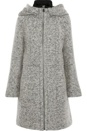 DONNA KARAN Brushed-bouclé hooded coat