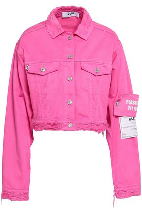 MSGM Cropped appliquéd distressed denim jacket