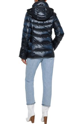 DONNA KARAN Quilted shell hooded down coat
