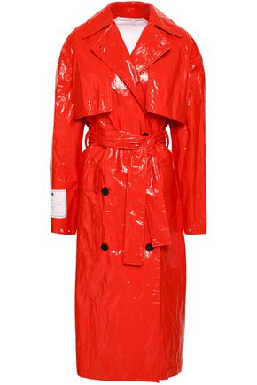 MSGM Crinkled-vinyl trench coat