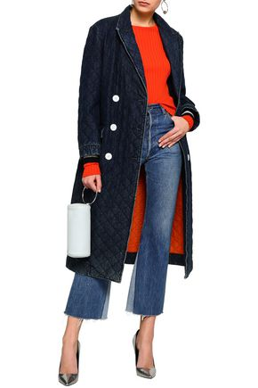 MSGM Appliquéd quilted double-breasted denim coat