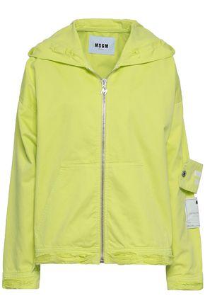 MSGM Appliquéd printed denim hooded jacket
