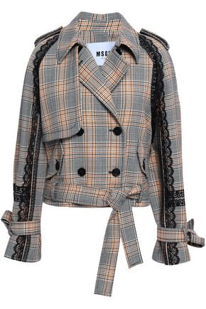 MSGM Lace-trimmed checked wool jacket