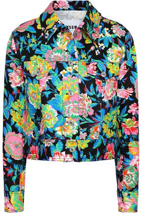 MSGM Floral-print denim jacket