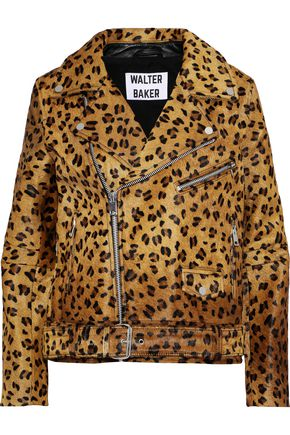 W118 by WALTER BAKER Lonnie leopard-print calf hair biker jacket