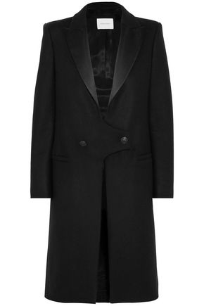 PIERRE BALMAIN Satin-trimmed wool coat