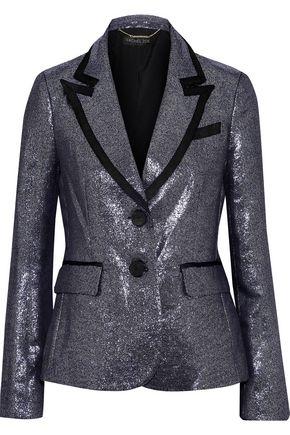 RACHEL ZOE Knox grosgrain-trimmed lamé blazer