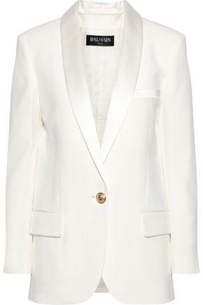 BALMAIN Satin-trimmed crepe jacket