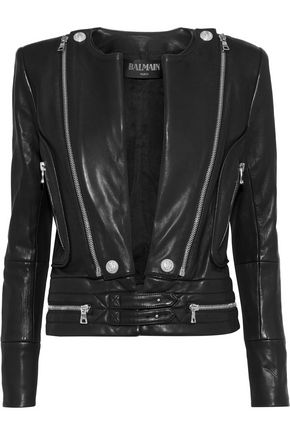 BALMAIN Zip-detailed leather jacket