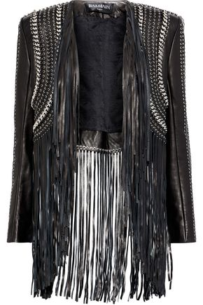 BALMAIN Chain-trimmed fringed leather bolero