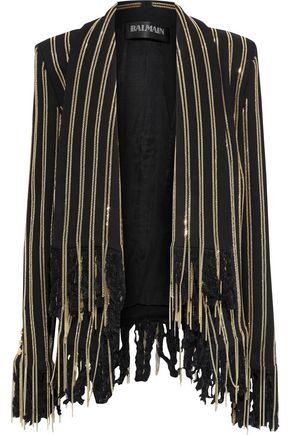 BALMAIN Fringed chain-trimmed cotton-blend jacket