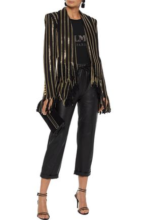 BALMAIN Fringed chain-trimmed cotton-blend jacket