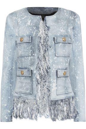 BALMAIN Fringe-trimmed bleached denim jacket