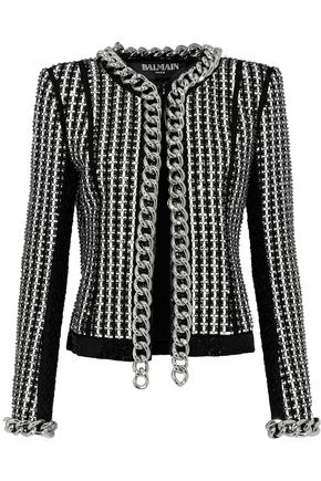 BALMAIN Chain-trimmed embellished tweed jacket