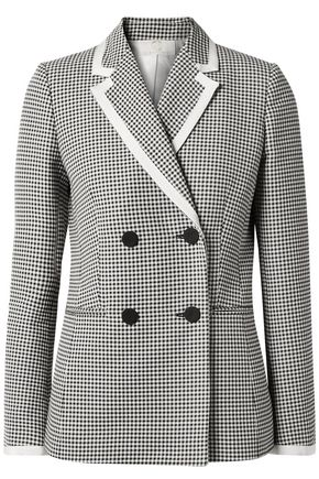 SARA BATTAGLIA Double-breasted gingham cotton-blend blazer