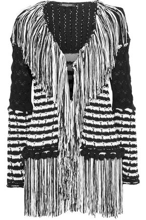 BALMAIN Fringed striped crochet-knit cardigan