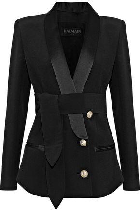 BALMAIN Tie-front satin-trimmed crepe blazer